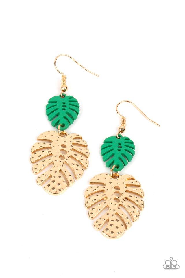 Palm Tree Cabana - Green - Paparazzi Earring Image