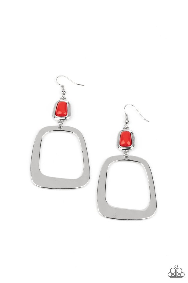 Material Girl Mod - Red - Paparazzi Earring Image