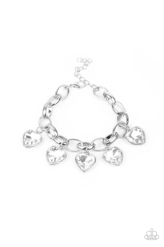 Candy Heart Charmer - White - Paparazzi Bracelet Image