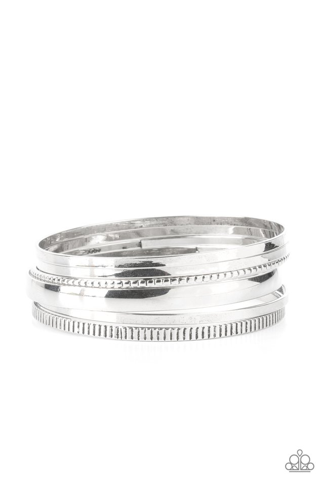 Gliding Gleam - Silver - Paparazzi Bracelet Image