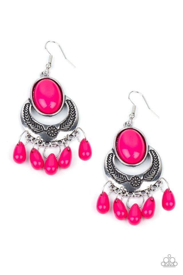 Prairie Flirt - Pink - Paparazzi Earring Image