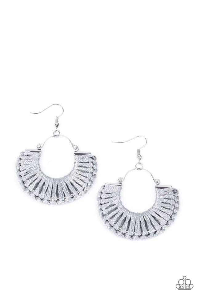 Threadbare Beauty - Silver - Paparazzi Earring Image