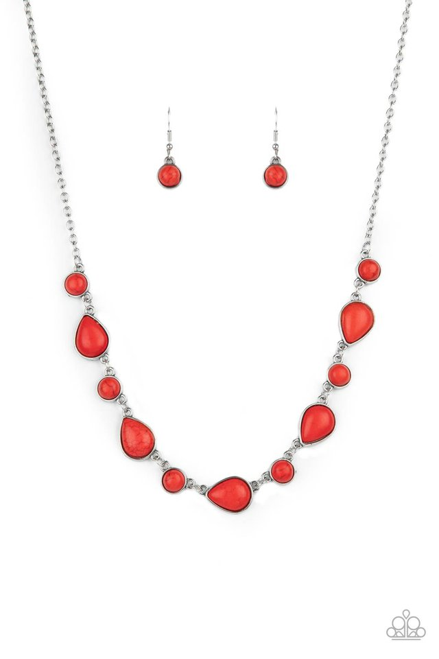 Heavenly Teardrops - Red - Paparazzi Necklace Image