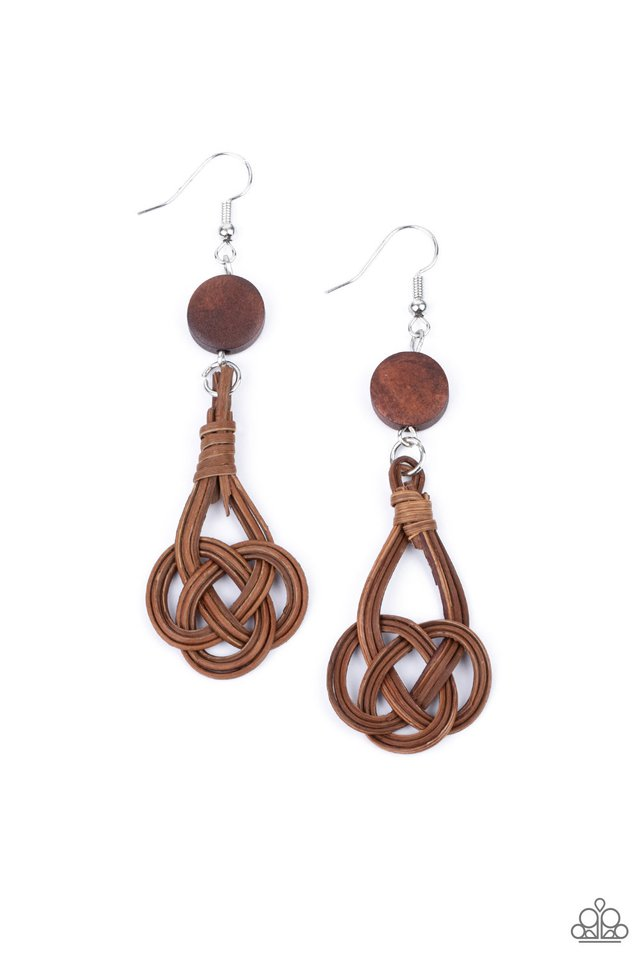 Twisted Torrents - Brown - Paparazzi Earring Image