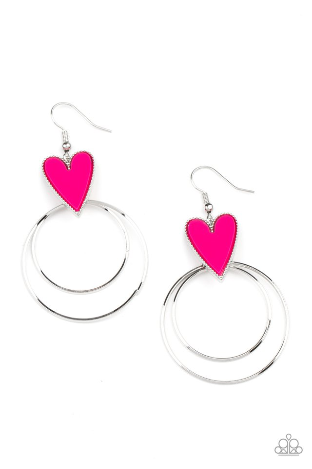 Happily Ever Hearts - Pink - Paparazzi Earring Image