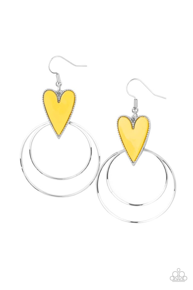 Happily Ever Hearts - Yellow - Paparazzi Earring Image