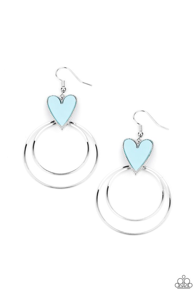 Happily Ever Hearts - Blue - Paparazzi Earring Image