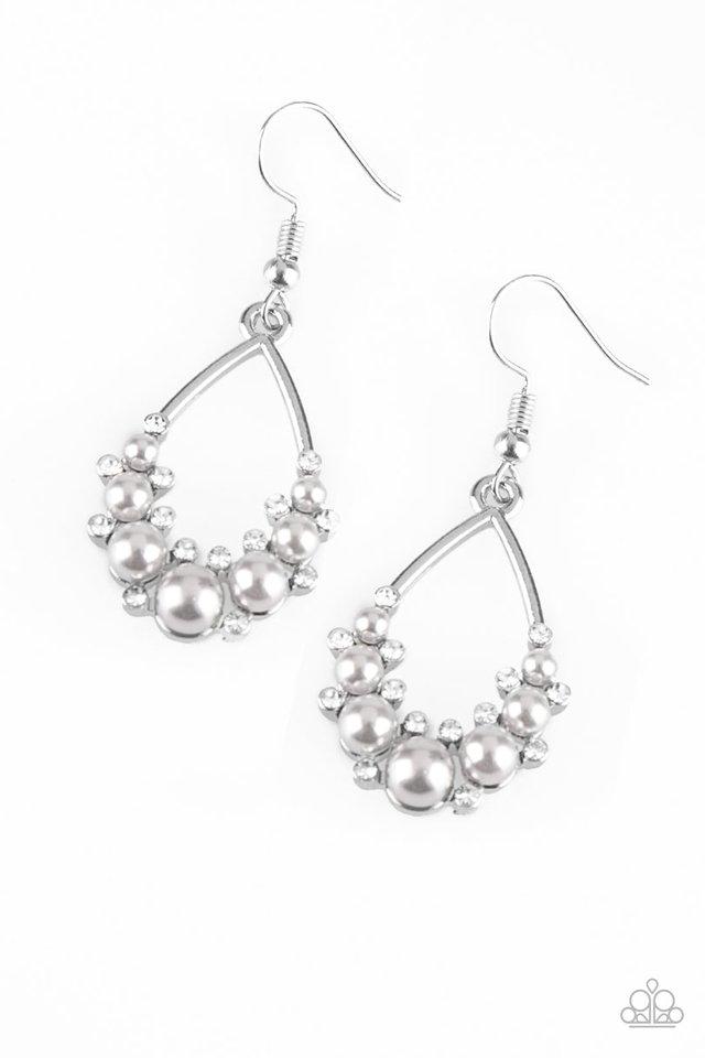 Fancy First - Silver - Paparazzi Earring Image