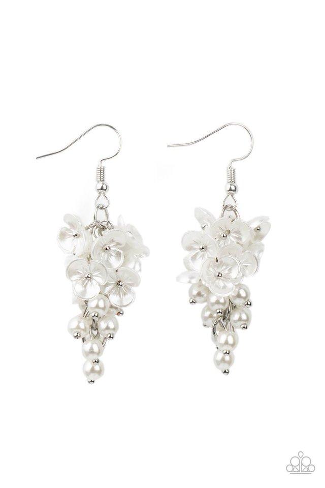 Bountiful Bouquets - White - Paparazzi Earring Image