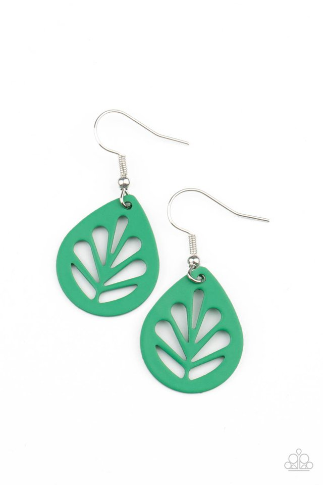 LEAF Yourself Wide Open - Green - Paparazzi Earring Image