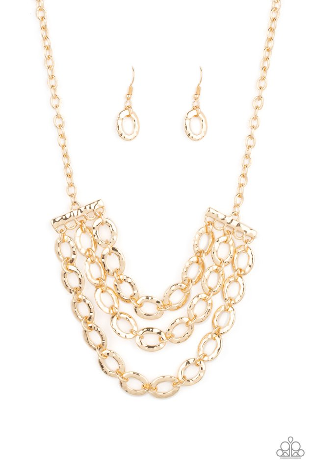 Repeat After Me - Gold - Paparazzi Necklace Image