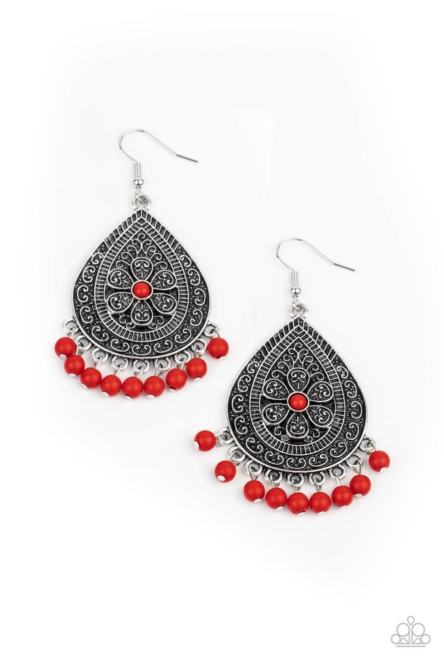 Blossoming Teardrops - Red - Paparazzi Earring Image