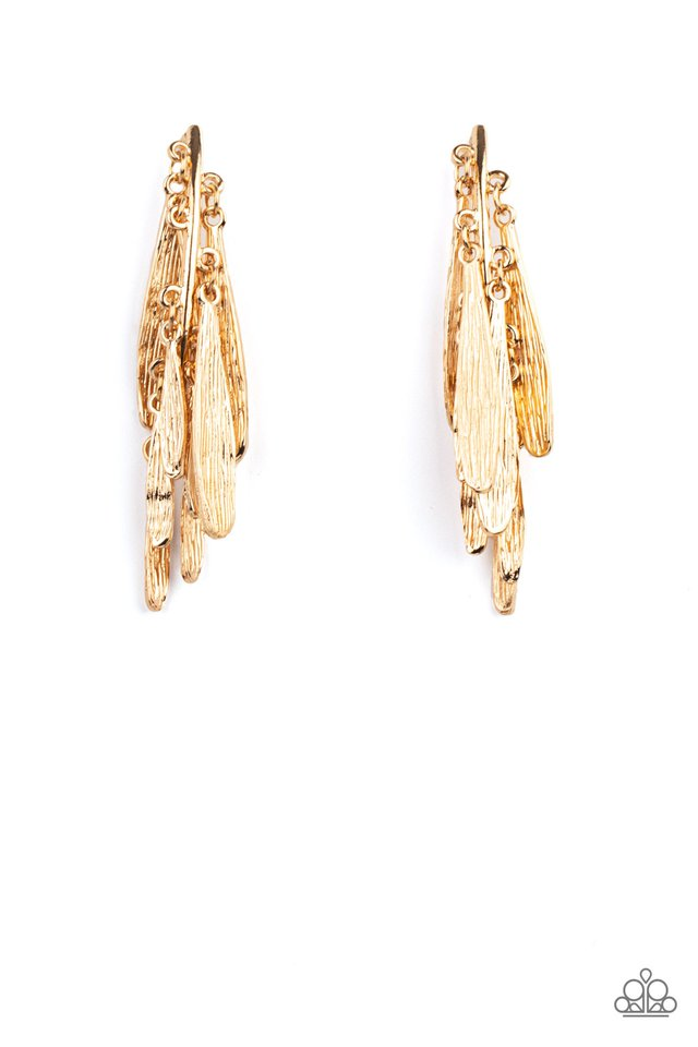 Pursuing The Plumes - Gold - Paparazzi Earring Image