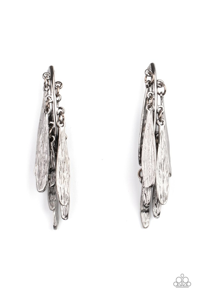 Pursuing The Plumes - Black - Paparazzi Earring Image