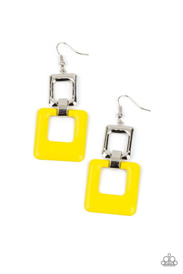 Twice As Nice - Yellow - Paparazzi Earring Image