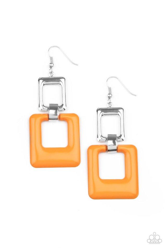 Twice As Nice - Orange - Paparazzi Earring Image