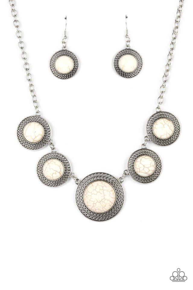 Circle The Wagons - White - Paparazzi Necklace Image