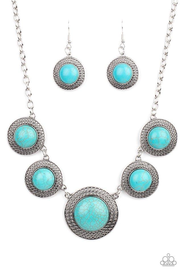 Circle The Wagons - Blue - Paparazzi Necklace Image
