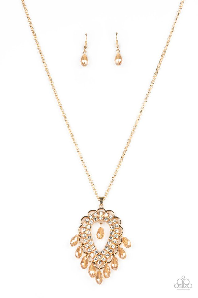 Teasable Teardrops - Gold - Paparazzi Necklace Image
