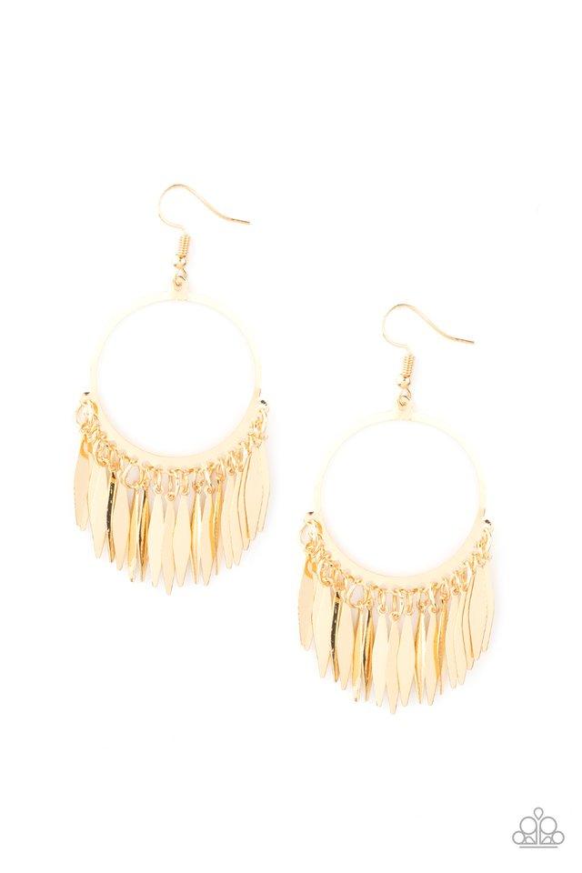 Radiant Chimes - Gold - Paparazzi Earring Image