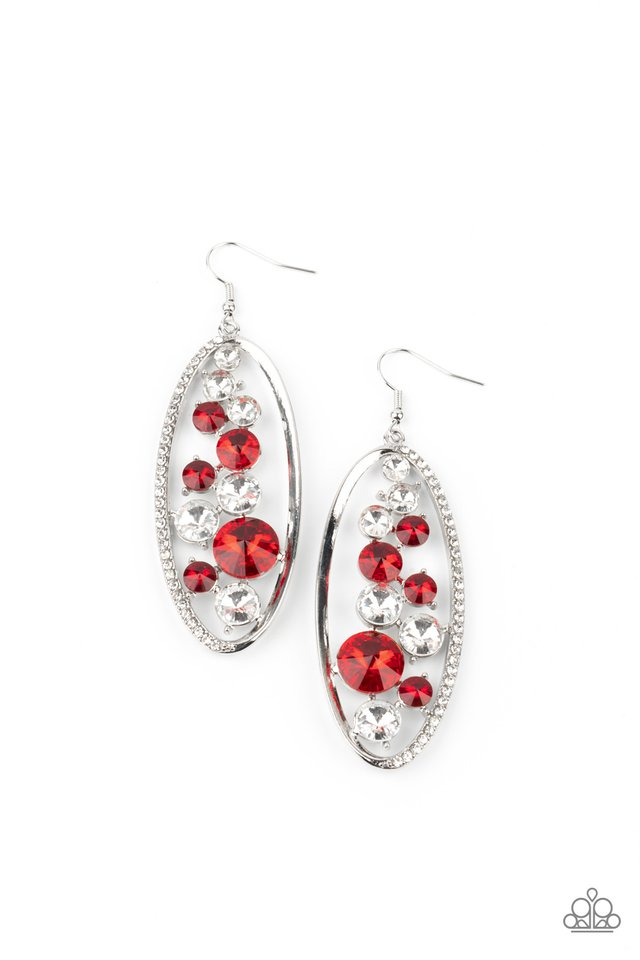Rock Candy Bubbly - Red - Paparazzi Earring Image