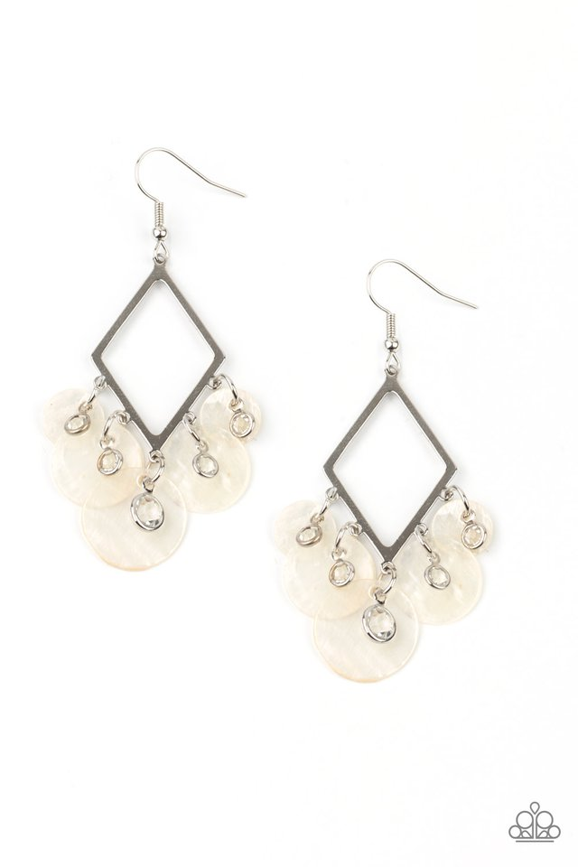 Pomp And Circumstance - White - Paparazzi Earring Image