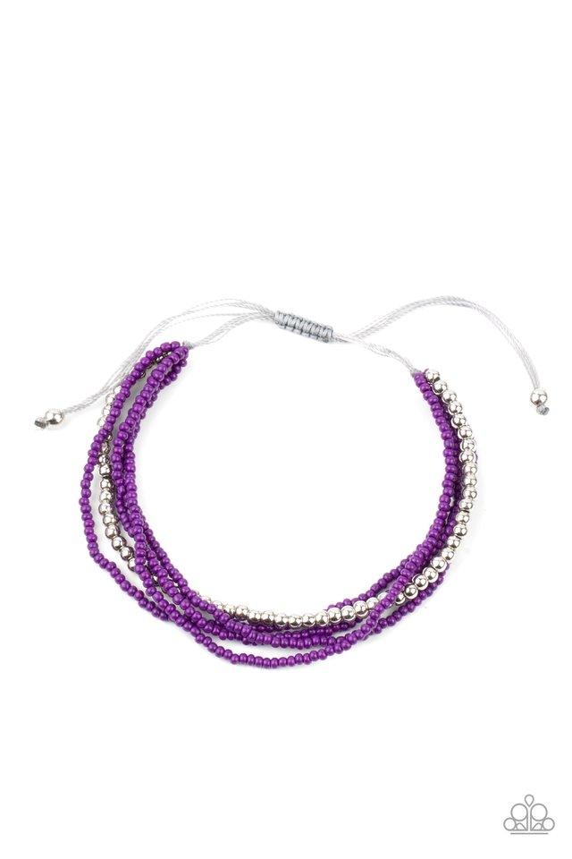 All Beaded Up - Purple - Paparazzi Bracelet Image