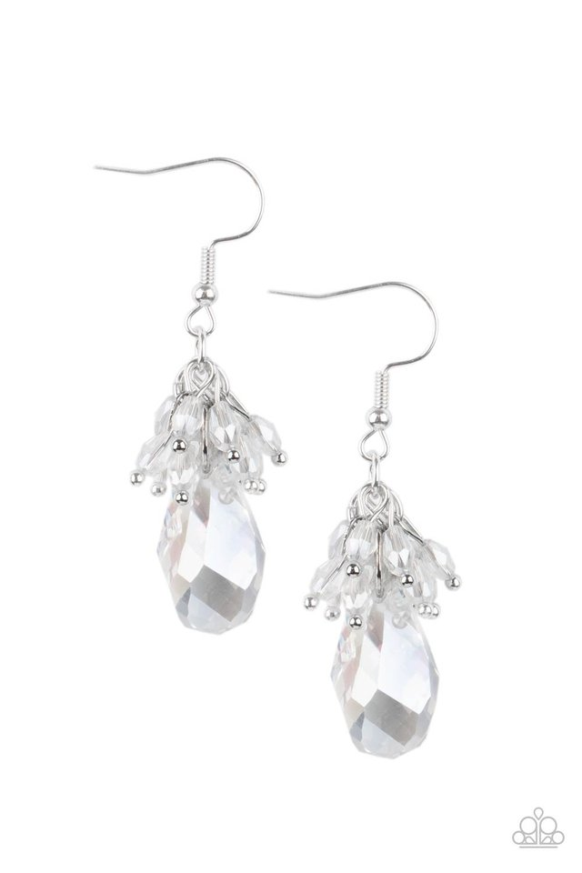 Well Versed in Sparkle - White - Paparazzi Earring Image