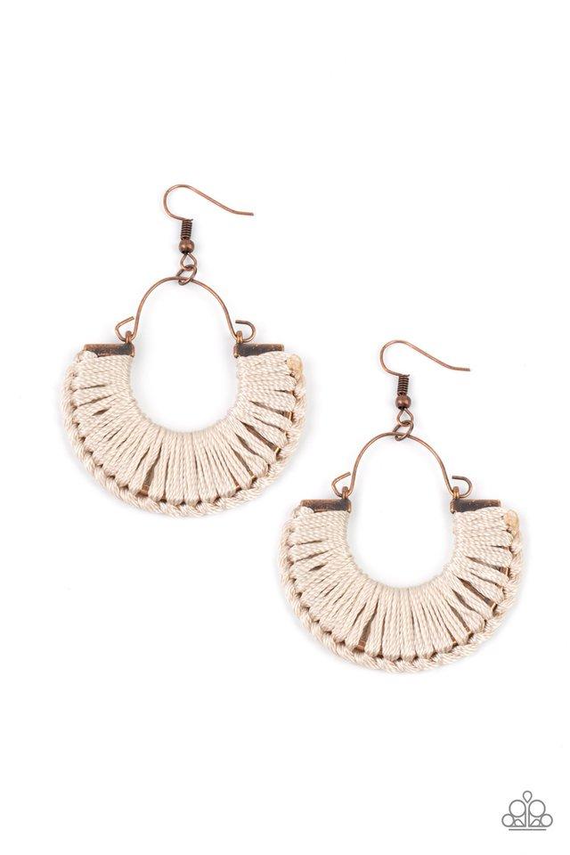 Threadbare Beauty - Copper - Paparazzi Earring Image