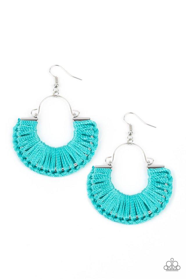 Threadbare Beauty - Blue - Paparazzi Earring Image