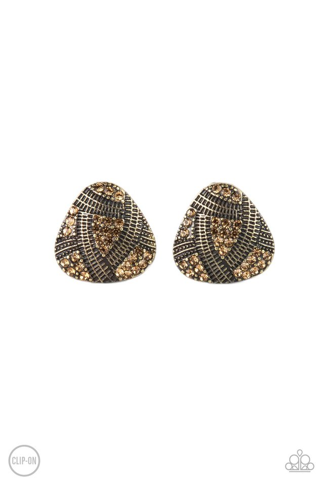 Gorgeously Galleria - Brass - Paparazzi Earring Image