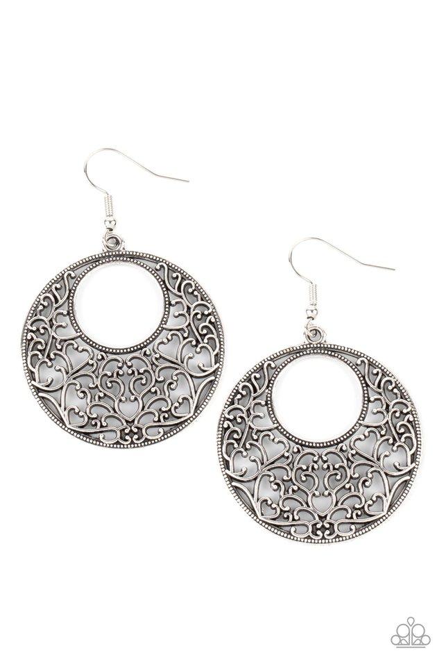 Vineyard Romance - Silver - Paparazzi Earring Image