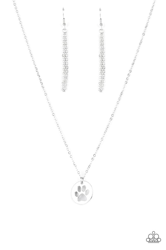 Think PAW-sitive - Silver - Paparazzi Necklace Image