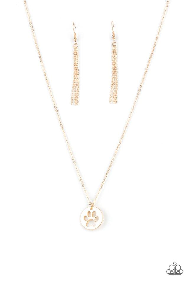 Think PAW-sitive - Gold - Paparazzi Necklace Image
