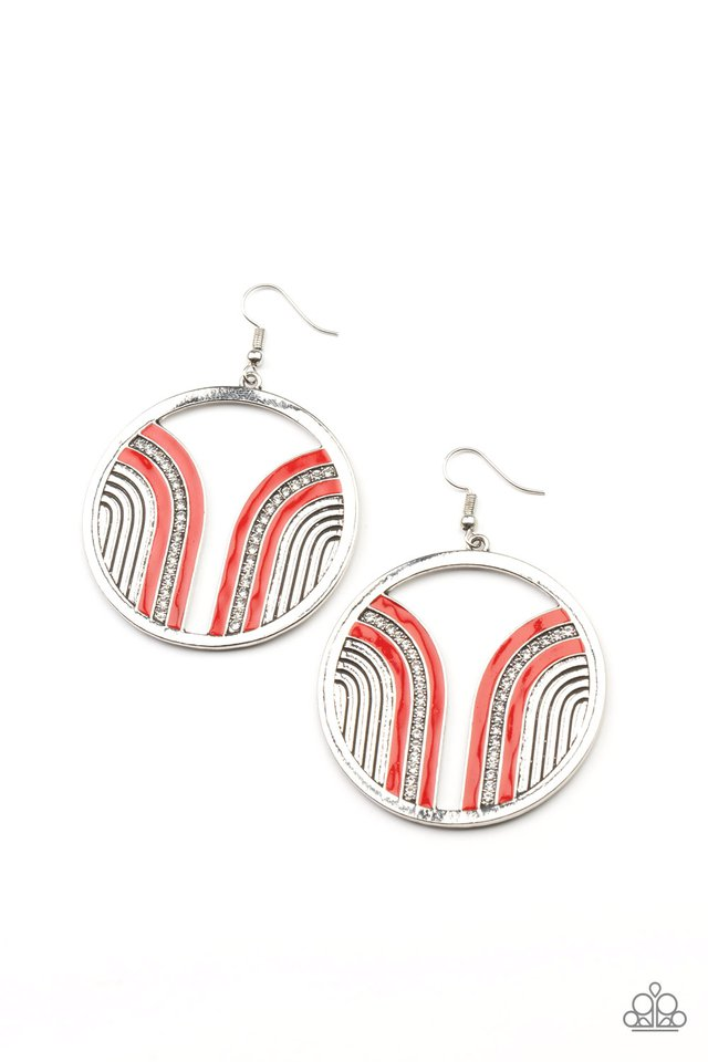 Delightfully Deco - Red - Paparazzi Earring Image