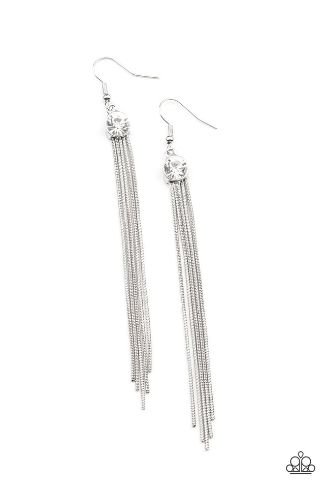 Always In Motion - White - Paparazzi Earring Image