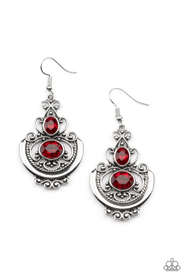 Unlimited Vacation - Red - Paparazzi Earring Image