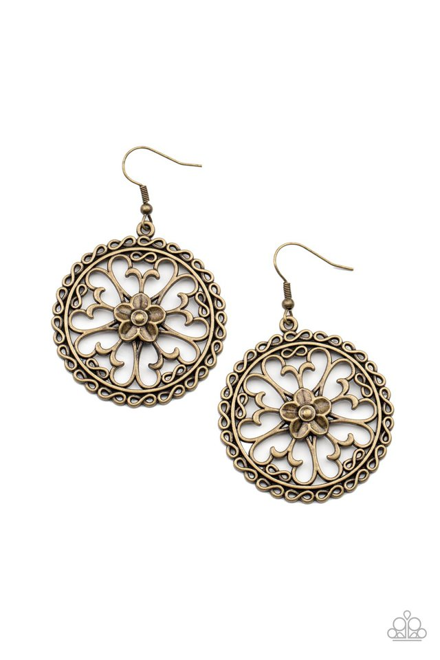 Floral Fortunes - Brass - Paparazzi Earring Image