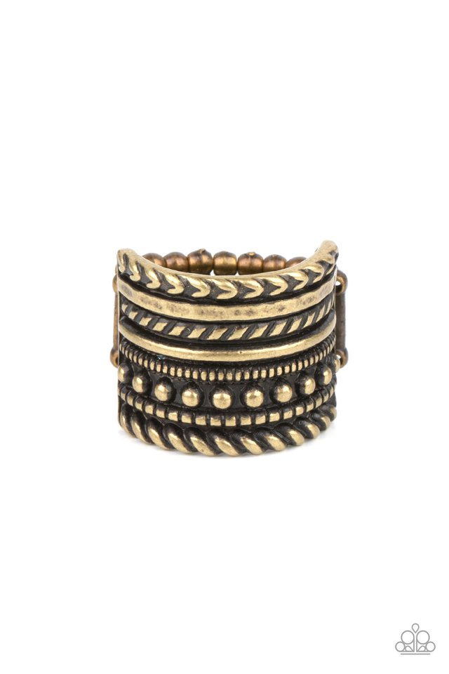 Stacked Odds - Brass - Paparazzi Ring Image