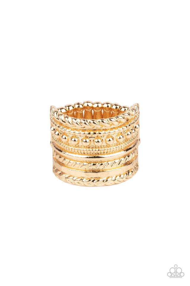 Stacked Odds - Gold - Paparazzi Ring Image