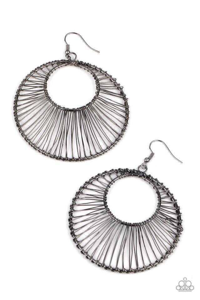 Artisan Applique - Black - Paparazzi Earring Image