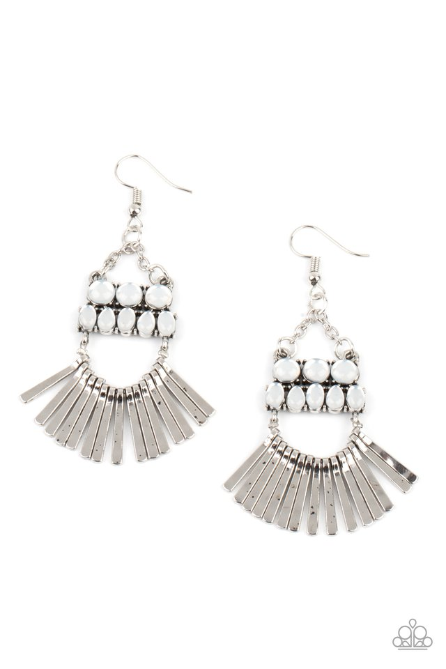A FLARE For Fierceness - White - Paparazzi Earring Image