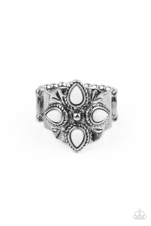 Badlands Bouquet - White - Paparazzi Ring Image