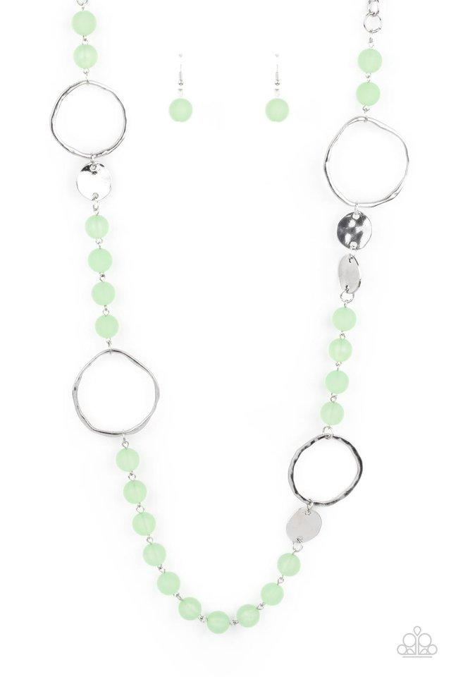 Sea Glass Wanderer - Green - Paparazzi Necklace Image