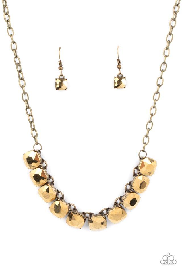 Radiance Squared - Brass - Paparazzi Necklace Image