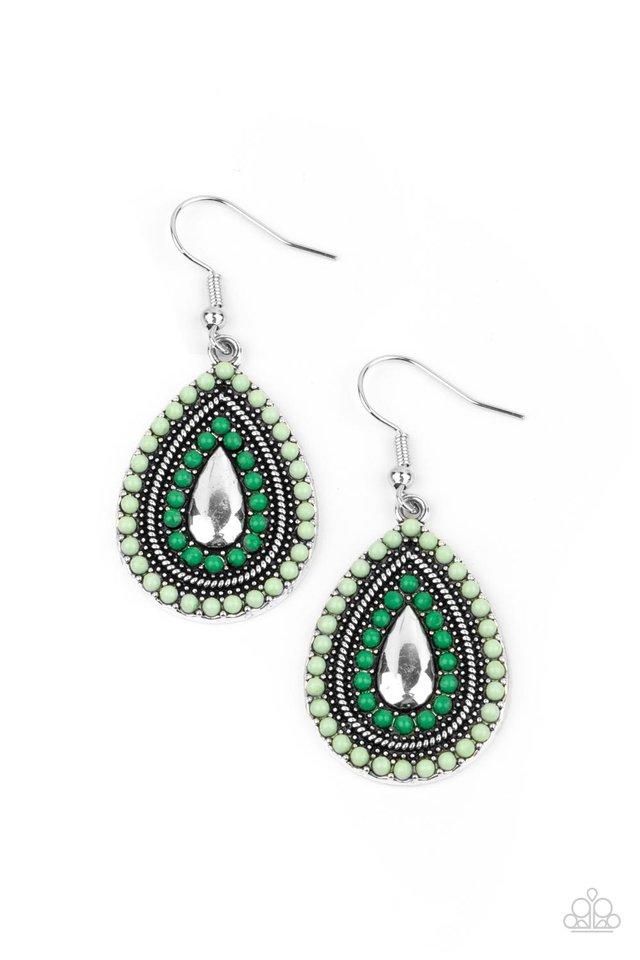 Beaded Bonanza - Green - Paparazzi Earring Image