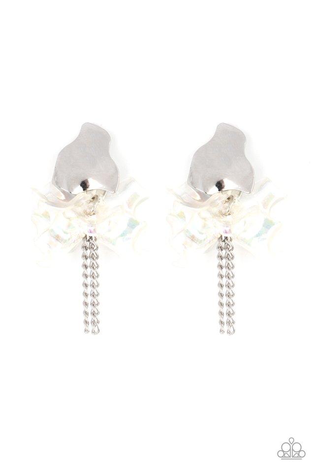 Harmonically Holographic - White - Paparazzi Earring Image