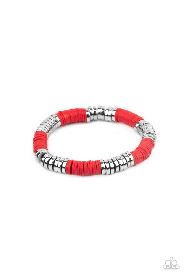 Stacked In Your Favor - Red - Paparazzi Bracelet Image
