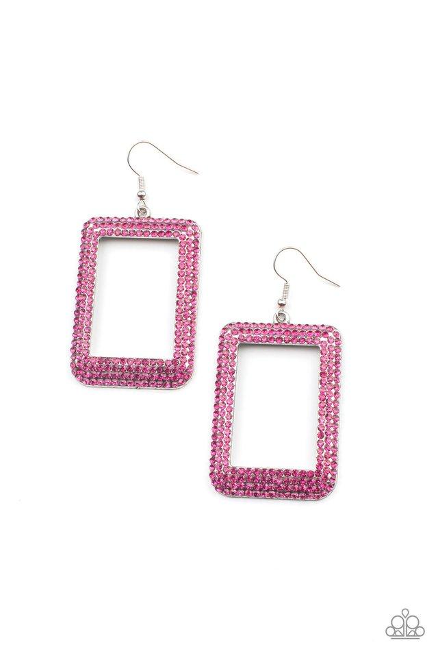 World FRAME-ous - Pink - Paparazzi Earring Image