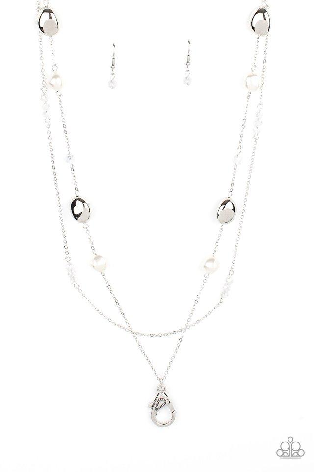Gala Goals - White Lanyard - Paparazzi Necklace Image
